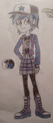 Size: 587x1362 | Tagged: safe, artist:jebens1, oc, oc only, oc:sapphire night, equestria girls, equestria girls series, solo, traditional art