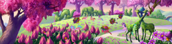 Size: 2104x540 | Tagged: safe, composite screencap, edit, edited screencap, screencap, breezie, the princess promenade, breezie blossom, flower, g3, gardening, hedge animals, hiding, panorama, planting, playing, wheelbarrow