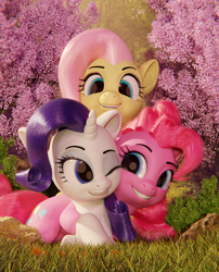 Size: 1570x1945 | Tagged: safe, artist:certedia, fluttershy, pinkie pie, rarity, earth pony, pegasus, pony, unicorn, 3d, 3d model, blender, blender cycles, cute, cycles, cycles render, female, females only, flower, group photo, hair, hug, mare, model:djthed, nature, rock, sakura tree, tree, trio, trio female