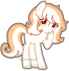 Size: 2628x2694   Tagged: safe, artist:kurosawakuro, oc, oc only, earth pony, pony, female, offspring, outline, parent:double diamond, parent:spitfire, parents:spitdiamond, simple background, solo, teenager, transparent background