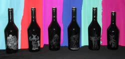 Size: 1024x487 | Tagged: safe, artist:malte279, cozy glow, king sombra, lord tirek, nightmare moon, queen chrysalis, tempest shadow, baileys, bottle, craft, glass engraving