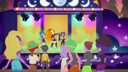 Size: 1920x1080 | Tagged: safe, screencap, adagio dazzle, aria blaze, lemon zack, microchips, snow flower, sonata dusk, space camp (character), equestria girls, equestria girls series, sunset's backstage pass!, spoiler:eqg series (season 2), mic drop, the dazzlings