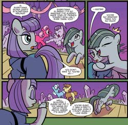 Size: 1949x1905 | Tagged: safe, artist:kate sherron, idw, boulder (pet), marble pie, maud pie, earth pony, pegasus, pony, unicorn, spoiler:comic, spoiler:comic86, a happy ending for marble pie, background pony, blank flank, equestria's best big sister, female, hug, mare, siblings, sisters, unnamed pony