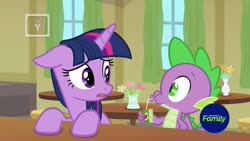 Size: 1920x1080 | Tagged: safe, screencap, spike, twilight sparkle, alicorn, dragon, pony, the point of no return, spoiler:s09e05, floppy ears, juice, juice box, twilight sparkle (alicorn), winged spike