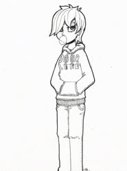 Size: 1504x2030 | Tagged: artist needed, safe, oc, oc:dorm pony, human, bubblegum, clothes, door, food, gum, hands in pockets, hoodie, humanized, monochrome, solo, text, unimpressed