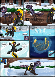 Size: 2893x4092 | Tagged: safe, artist:novaspark, oc, oc only, oc:nyn indigo, oc:shade demonshy, bat pony, original species, timber pony, timber wolf, asphyxiation, bandage, bat wings, comic, crash, drowning, falling, ice, snow, species swap, water, wings