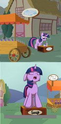 Size: 626x1266 | Tagged: safe, artist:wenni, edit, screencap, pinkie pie, twilight sparkle, pony, unicorn, feeling pinkie keen, closed captioning, condescending, female, floppy ears, literal soapbox, mare, open mouth, scene interpretation, soap, soapbox, unicorn twilight