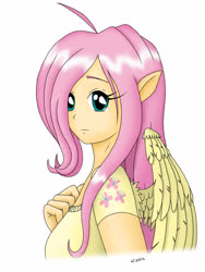 Size: 1200x1600 | Tagged: safe, artist:zigword, fluttershy, human, clothes, cutie mark, humanized, pony ears, simple background, solo, wings