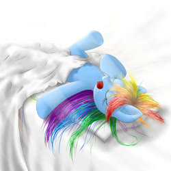 Size: 666x666 | Tagged: safe, artist:zigword, rainbow dash, pegasus, pony, bed, bed mane, blanket, drool, eyes closed, messy mane, open mouth, pillow, sleeping, solo