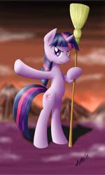 Size: 733x1223 | Tagged: safe, artist:zigword, twilight sparkle, pony, unicorn, bipedal, broom, solo, unicorn twilight