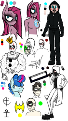 Size: 720x1280   Tagged: safe, artist:didun850, party favor, pinkie pie, rainbow dash, earth pony, human, pony, unicorn, anthro with ponies, batman, breasts, bust, chest fluff, clothes, clown, crossover, cutie mark, eyeliner, featureless breasts, female, glowing horn, happy death day, horn, jeff the killer, knife, makeup, male, mare, mask, meme, pinkamena diane pie, saw, stallion