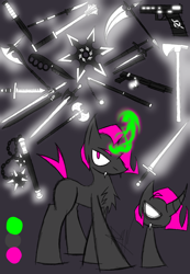 Size: 888x1280 | Tagged: safe, artist:didun850, oc, oc only, oc:doll, pony, unicorn, chest fluff, chibi, curved horn, disguise, disguised changeling, female, glowing horn, gun, horn, knife, magic, mare, reference sheet, scythe, sickle, sword, telekinesis, weapon