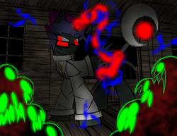 Size: 1150x888 | Tagged: safe, artist:didun850, oc, oc only, oc:crescent moon, ghoul, pony, undead, unicorn, cabin, clothes, electricity, glasses, glowing eyes, glowing horn, horn, lab coat, magic, male, staff, stallion, telekinesis