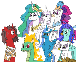 Size: 3127x2564 | Tagged: safe, artist:supahdonarudo, fleur-de-lis, gilda, princess celestia, queen novo, tianhuo, oc, oc:fleurbelle, oc:ironyoshi, oc:sea lilly, alicorn, classical hippogriff, dragon, griffon, hippogriff, hybrid, longma, unicorn, them's fightin' herds, my little pony: the movie, alicorn oc, bow, clothes, decision, dialogue, hooves on hips, mane of fire, shirt, simple background, speech bubble, sweat, this will not end well, transparent background, waifu