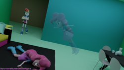 Size: 3840x2160 | Tagged: safe, artist:extremespeed slowpoke, pinkie pie, rainbow dash, ghost, undead, equestria girls, 3d, blender, bored, not dead, t pose