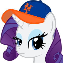 Size: 915x915 | Tagged: safe, artist:the smiling pony, rarity, pony, unicorn, derpibooru, .svg available, derpibooru badge, lidded eyes, looking at you, meta, new york mets, simple background, solo, svg, transparent background, unamused, vector