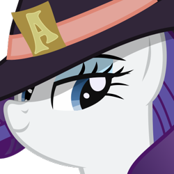Size: 375x375 | Tagged: safe, artist:the smiling pony, rarity, pony, unicorn, derpibooru, .svg available, derpibooru badge, female, hat, lidded eyes, mare, meta, simple background, smiling, solo, svg, transparent background, vector