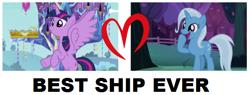 Size: 632x239   Tagged: safe, trixie, twilight sparkle, alicorn, apple, apple tree, best ship, female, lesbian, opinion, shipping, shipping domino, tree, twilight sparkle (alicorn), twilight's castle, twixie