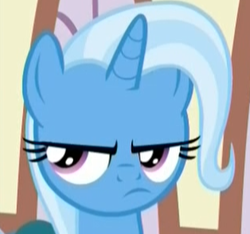 Size: 314x294 | Tagged: safe, screencap, trixie, pony, unicorn, student counsel, spoiler:s09e11, angry, cropped, female, grumpy, mare, reaction image