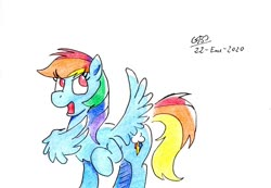Size: 1024x710 | Tagged: safe, artist:gafelpoez, rainbow dash, pegasus, pony, female, franz ferdinand, mare, no pupils, one hoof raised, solo, song reference in the description, traditional art