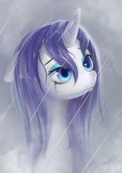 Size: 2480x3508 | Tagged: safe, artist:54600, rarity, pony, unicorn, female, makeup, mare, rain, running makeup, solo, wet, wet mane, wet mane rarity