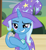 Size: 657x720   Tagged: safe, screencap, trixie, pony, unicorn, uncommon bond, cape, clothes, cropped, female, hat, holding, mare, raised eyebrow, raised hoof, solo, trixie's cape, trixie's hat