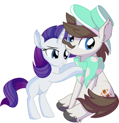 Size: 7141x7365 | Tagged: safe, artist:cyanlightning, hondo flanks, rarity, pony, unicorn, .svg available, absurd resolution, blank flank, clothes, duo, ear fluff, facial hair, father and child, father and daughter, female, filly, filly rarity, hat, lidded eyes, male, moustache, scarf, simple background, sitting, smiling, stallion, transparent background, vector, younger