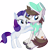 Size: 7141x7365 | Tagged: safe, artist:cyanlightning, hondo flanks, rarity, pony, unicorn, .svg available, absurd resolution, blank flank, clothes, duo, ear fluff, eyes closed, facial hair, father and child, father and daughter, female, filly, filly rarity, hat, lidded eyes, male, moustache, scarf, simple background, sitting, smiling, stallion, transparent background, vector, younger