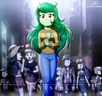 Size: 2160x2020 | Tagged: safe, artist:the-butch-x, captain planet, cherry crash, drama letter, microchips, scribble dee, sweet leaf, tennis match, thunderbass, wallflower blush, watermelody, human, equestria girls, equestria girls series, forgotten friendship, spoiler:eqg series, blueberry, city, clothes, crying, food, invisible, pants, sad, sweater