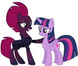 Size: 12012x10137 | Tagged: safe, alternate version, artist:ejlightning007arts, derpibooru exclusive, tempest shadow, twilight sparkle, alicorn, unicorn, my little pony: the movie, armor, base used, broken horn, clothes, eye scar, female, hoof on shoulder, horn, jumpsuit, lesbian, mare, scar, shipping, simple background, smiling, tempestlight, transparent background, twilight sparkle (alicorn), vector