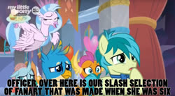 Size: 1642x907 | Tagged: safe, edit, edited screencap, screencap, gallus, ocellus, sandbar, silverstream, smolder, she's all yak, spoiler:s09e07, caption, faic, great moments in animation, inside joke