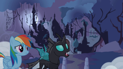 Size: 1280x720 | Tagged: safe, artist:itv-canterlot, artist:kayman13, rainbow dash, thorax, changeling, pegasus, pony, castle, castle of the royal pony sisters, cloud, female, looking up, male, mare, moon, night, silhouette, tree, wings, worried