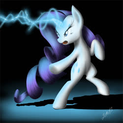 Size: 978x978 | Tagged: safe, artist:zigword, lightning bolt, rarity, white lightning, pony, unicorn, angry, bipedal, glowing horn, horn, lightning magic, magic, solo