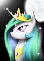 Size: 640x889 | Tagged: safe, artist:zigword, princess celestia, crown, jewelry, moon, night, regalia, solo, stars