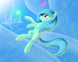Size: 1223x978   Tagged: safe, artist:zigword, oc, oc only, oc:canna, butterfly, castle, daydream, sky, solo
