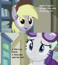 Size: 1280x1432 | Tagged: safe, edit, edited screencap, screencap, derpy hooves, rarity, best gift ever, dialogue, implied lesbian, implied rarijack, implied shipping, misspelling, post office