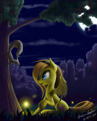 Size: 978x1222 | Tagged: safe, artist:zigword, oc, oc only, firefly (insect), insect, pegasus, pony, squirrel, forest, hairband, night, raised hoof, sitting, solo, tree