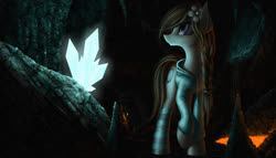 Size: 1944x1111   Tagged: safe, artist:zigword, oc, oc only, braid, cave, clothes, crystal, diamond, flower, flower in hair, hoodie, lava, minecraft, realistic, socks, solo, striped socks, torch