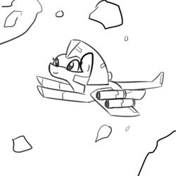 Size: 1080x1080   Tagged: safe, artist:tjpones, hybrid, original species, pony, asteroid, female, monochrome, simple background, spaceship, spaceship ponies, white background