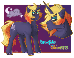Size: 3000x2364   Tagged: safe, artist:jeshh, oc, oc:brontide shivers, pony, unicorn, cigarette, magical lesbian spawn, male, offspring, parent:lightning dust, parent:tempest shadow, solo, stallion