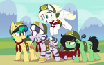 Size: 2202x1371 | Tagged: safe, artist:shinodage, oc, oc only, oc:apogee, oc:filly anon, oc:houston, oc:luftkrieg, oc:zala, earth pony, pegasus, pony, rat, zebra, blank flank, female, filly, filly guides, filly scouts, pegasus oc, zebra oc