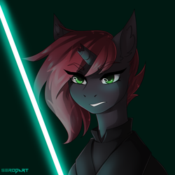 Size: 2000x2000 | Tagged: safe, artist:serodart, oc, pony, unicorn, commission, lightsaber, solo, star wars, sword, weapon