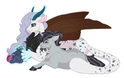 Size: 4016x2557   Tagged: safe, artist:gigason, oc, oc only, oc:flynn, oc:freya (missmele-madness), draconequus, pony, unicorn, female, knitting, magic, male, simple background, stallion, transparent background, yarn, yarn ball