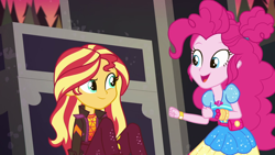 Size: 1920x1080 | Tagged: safe, screencap, pinkie pie, sunset shimmer, equestria girls, equestria girls series, sunset's backstage pass!, spoiler:eqg series (season 2), music festival outfit