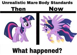 Size: 661x472 | Tagged: artist needed, safe, artist:decprincess, edit, twilight sparkle, alicorn, pony, unicorn, the last problem, spoiler:s09e26, comparison, meme, older, older twilight, ponified meme, princess twilight 2.0, twilight sparkle (alicorn), unicorn twilight, unrealistic male body standards