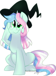 Size: 609x828   Tagged: safe, artist:maximumbark, oc, oc:bub, pony, unicorn, cute, female, glasses, green eyes, hat, mare, simple background, smiling, solo, witch hat