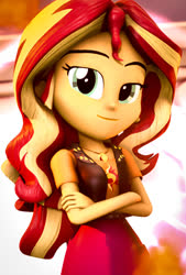 Size: 729x1080   Tagged: safe, artist:kyloren2000, sunset shimmer, equestria girls, 3d, geode of empathy, magical geodes, solo