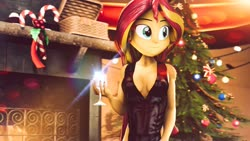 Size: 1920x1080   Tagged: safe, artist:kyloren2000, sunset shimmer, equestria girls, 2020, 3d, candy, candy cane, christmas, christmas tree, clothes, dress, fireplace, food, happy new year, happy new year 2020, holiday, solo, tree