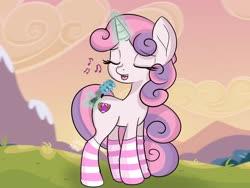 Size: 1600x1200 | Tagged: safe, artist:jannel, sweetie belle, pony, unicorn, clothes, eyes closed, levitation, magic, microphone, music notes, singing, socks, solo, striped socks, telekinesis
