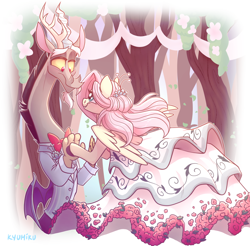Size: 1282x1259 | Tagged: safe, artist:kyumiku, discord, fluttershy, draconequus, pegasus, pony, bipedal, bowtie, clothes, discoshy, dress, female, holding hands, holding hooves, looking at each other, male, mare, outdoors, shipping, smiling, spread wings, straight, suit, wedding dress, wings